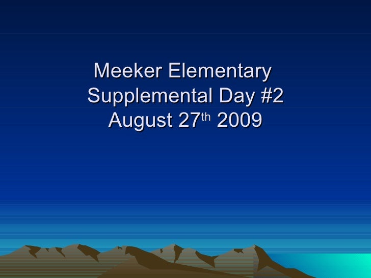 Meeker Supplemental Day #2 August 27th 2009 Pp