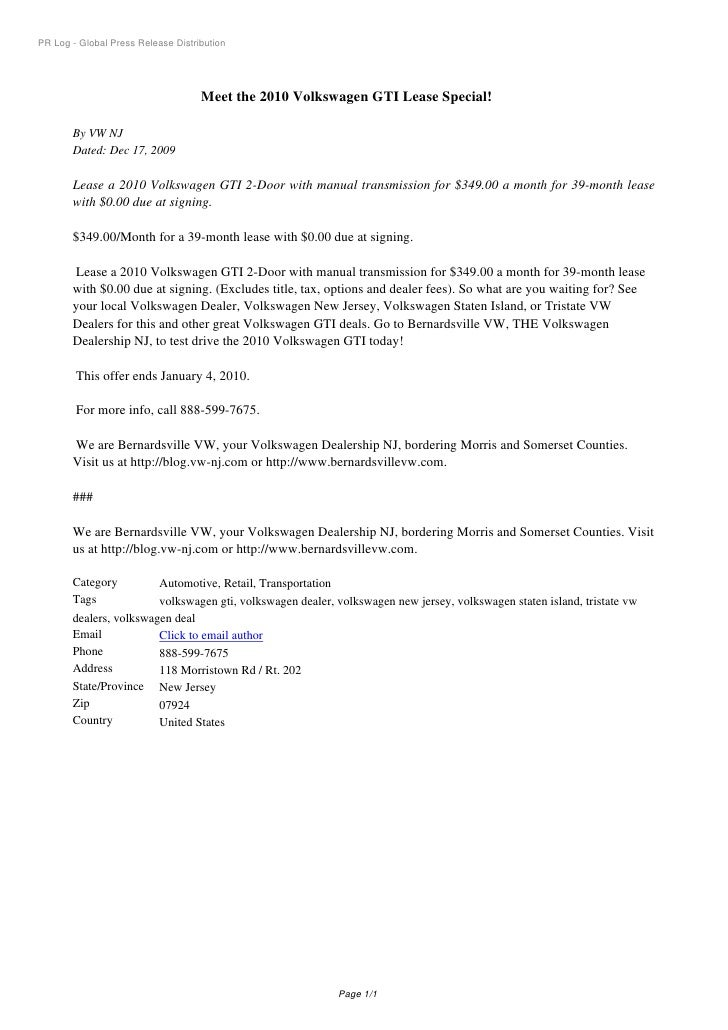 PR Log - Global Press Release Distribution                                         Meet the 2010 Volkswagen GTI Lease Spec...