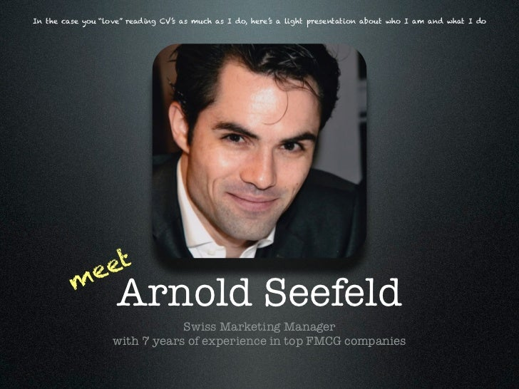 Meet Arnold Seefeld - Swiss Marketing Professional