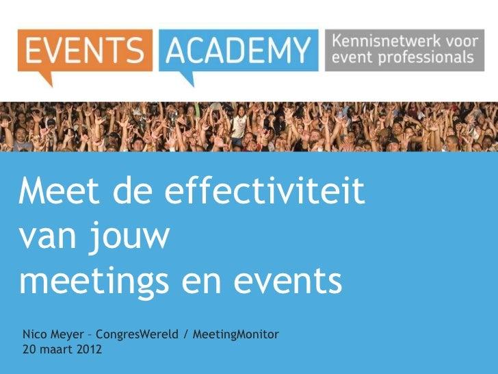 Meet de effectiviteitvan jouwmeetings en eventsNico Meyer – CongresWereld / MeetingMonitor20 maart 2012