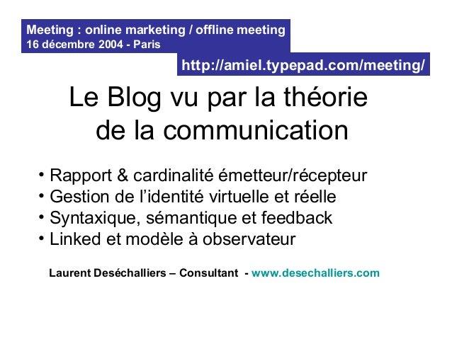 Le Blog vu par la théorie de la communication • Rapport & cardinalité émetteur/récepteur • Gestion de l'identité virtuelle...