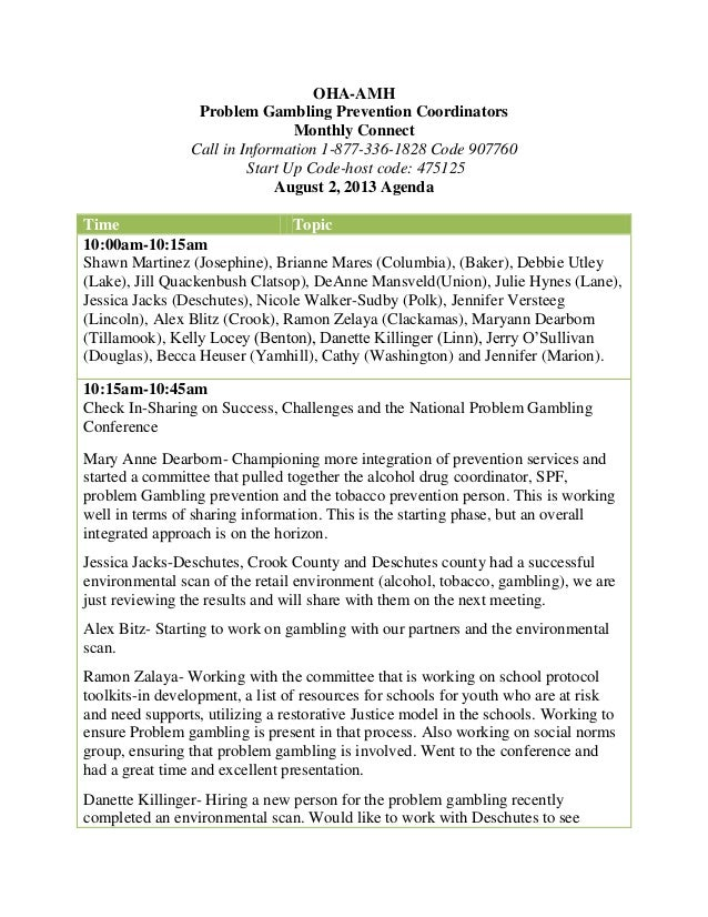 Oregon Problem Gambling Services - Monthly PG Prevention Connect - Minutes - 8/2/13