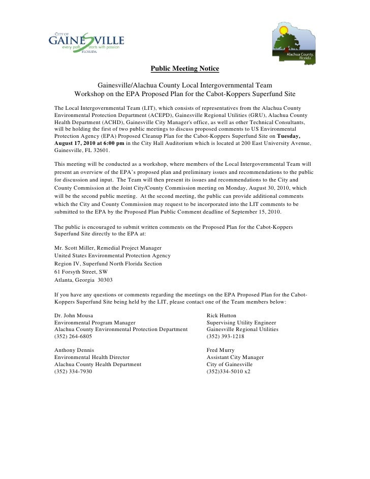 Public Meeting Notice               Gainesville/Alachua County Local Intergovernmental Team        Workshop on the EPA Pro...