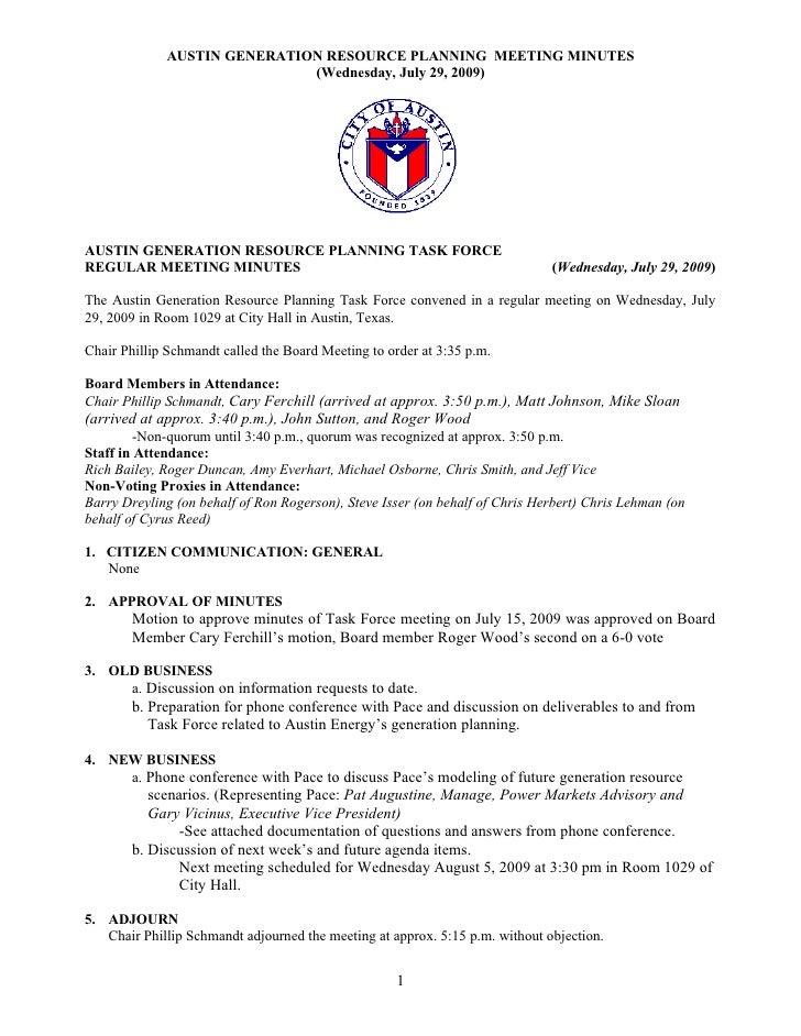 AUSTIN GENERATION RESOURCE PLANNING MEETING MINUTES                              (Wednesday, July 29, 2009)     AUSTIN GEN...