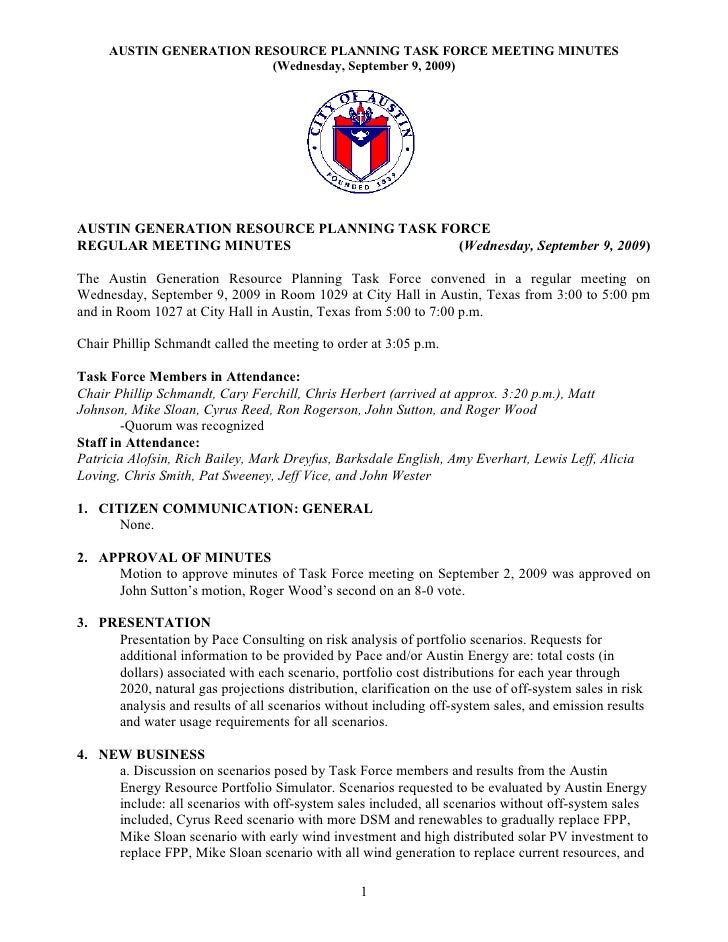 AUSTIN GENERATION RESOURCE PLANNING TASK FORCE MEETING MINUTES                          (Wednesday, September 9, 2009)    ...