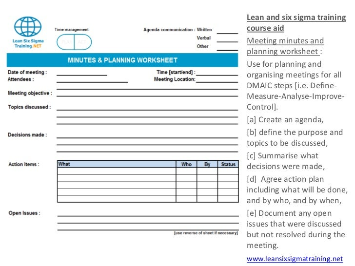 meeting minutes and planning sheet