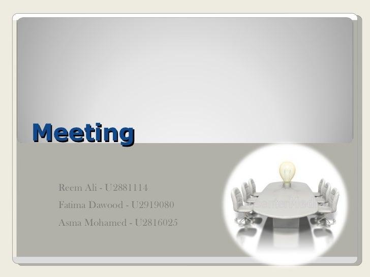 Meeting presentation