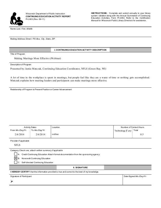 Meetings CE Sheet
