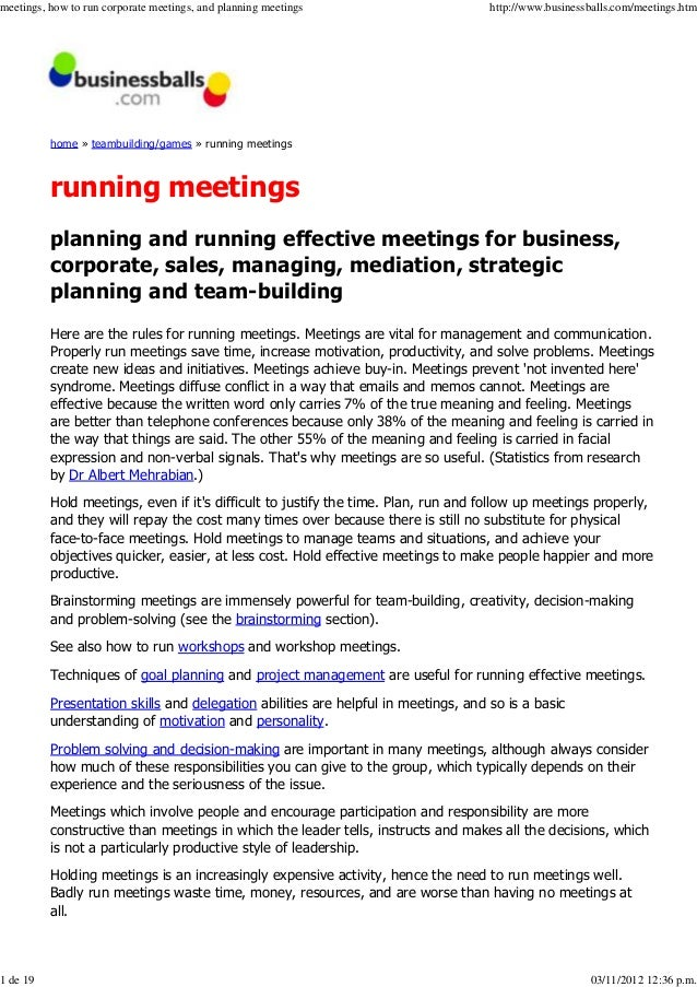 meetings, how to run corporate meetings, and planning meetings                      http://www.businessballs.com/meetings....
