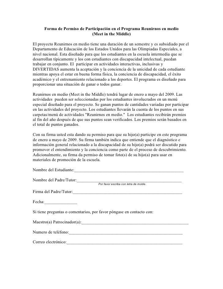 Forma de Permiso de Participación en el Programa Reunirnos en medio                              (Meet in the Middle)  El ...