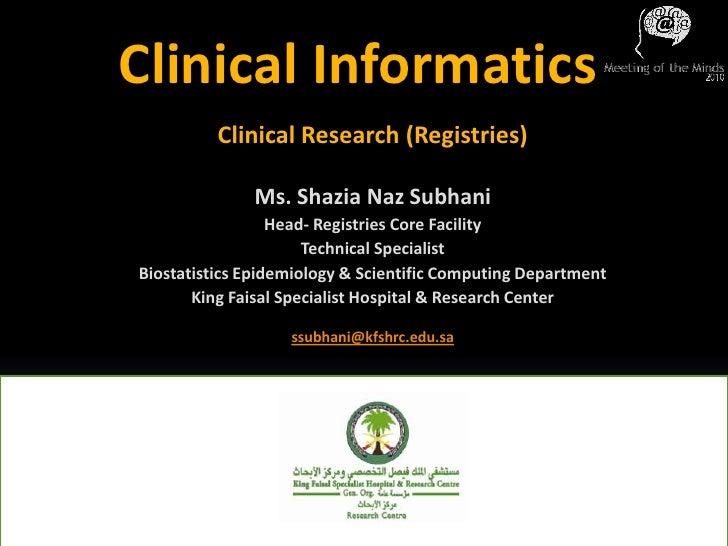 MoM2010: Clinical Informatics
