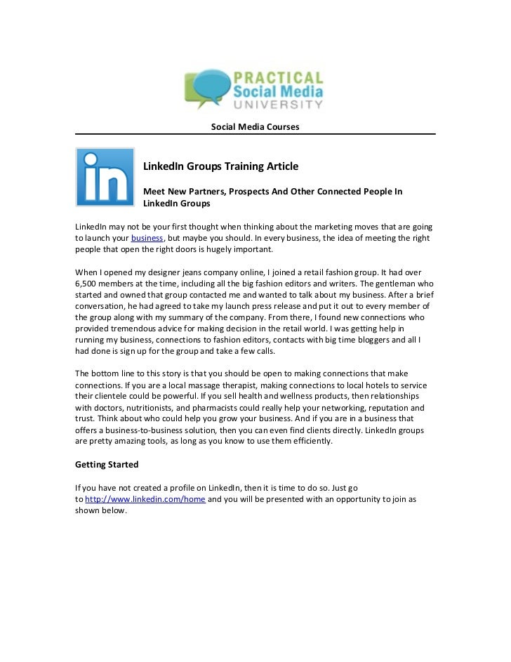 Social Media Courses                  LinkedIn Groups Training Article                  Meet New Partners, Prospects And O...