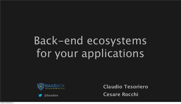 HTML5 Italy: Back end ecosystems for your applications - Cesare Rocchi + Claudio Tesoriero