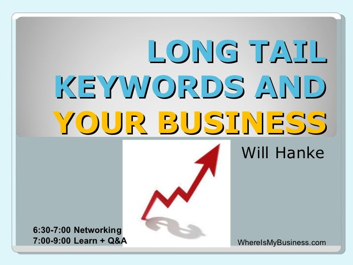 LONG TAIL KEYWORDS AND  YOUR BUSINESS Will Hanke WhereIsMyBusiness.com 6:30-7:00 Networking 7:00-9:00 Learn + Q&A