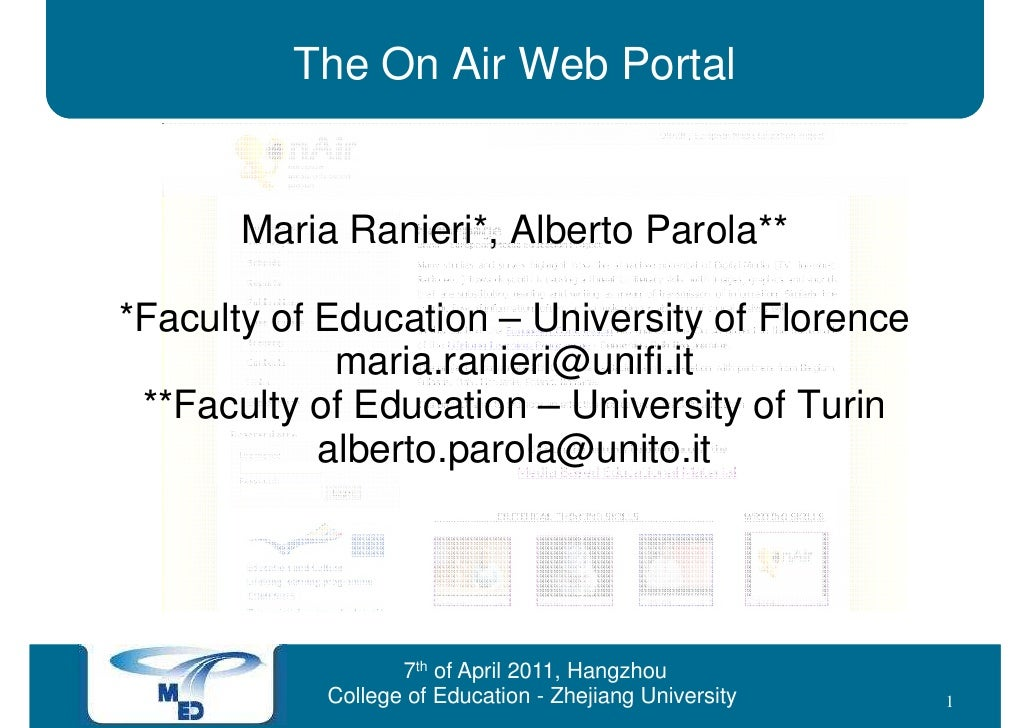 The On Air Web Portal       Maria Ranieri*, Alberto Parola***Faculty of Education – University of Florence             mar...