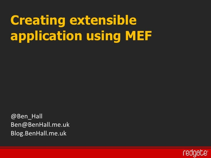 Creating extendable applications using MEF