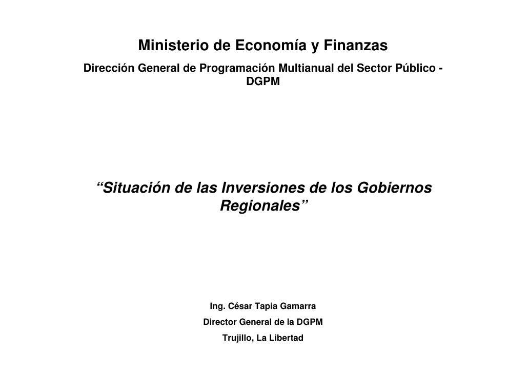 Ministerio de Economía y Finanzas Dirección General de Programación Multianual del Sector Público -                       ...