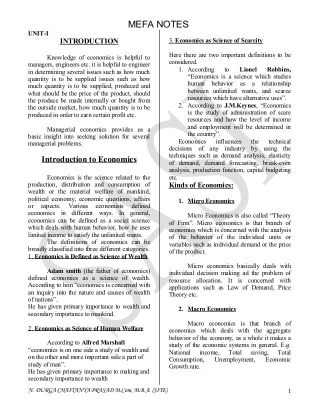 MEFA NOTESUNIT-I             INTRODUCTION                             3. Economics as Science of Scarcity        Knowledge...