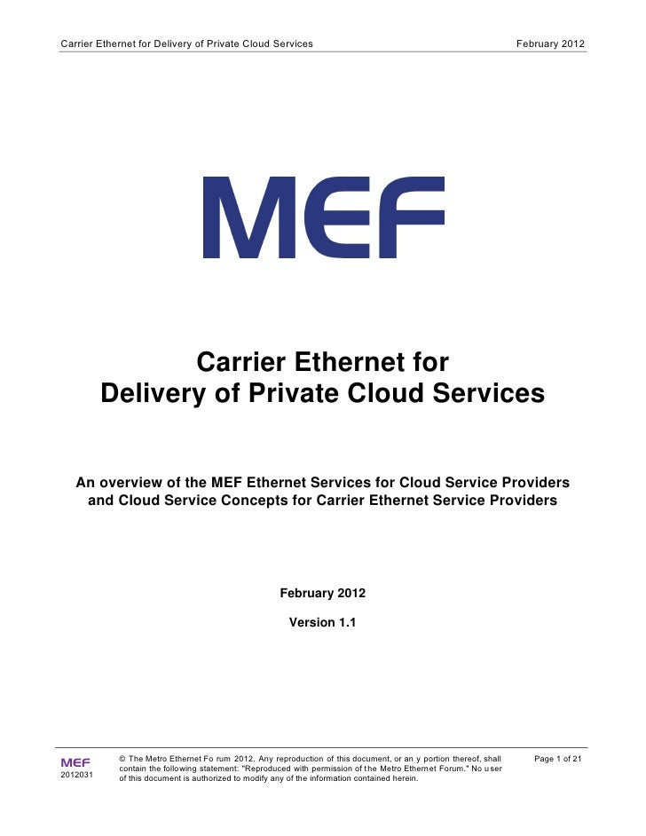 Carrier Ethernet for Delivery of Private Cloud Services                                                            Februar...