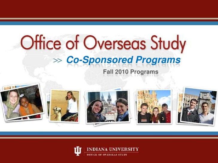 Co-Sponsored Programs<br />Fall 2010 Programs<br />