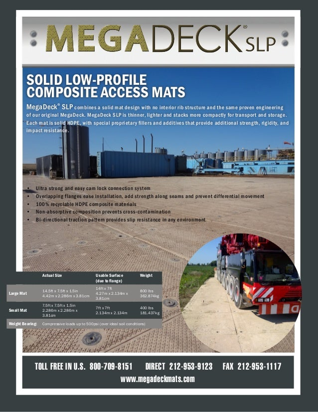TOLL FREE IN U.S. 800-709-8151 DIRECT 212-953-9123 FAX 212-953-1117 www.megadeckmats.com SOLID LOW-PROFILE COMPOSITE ACCES...