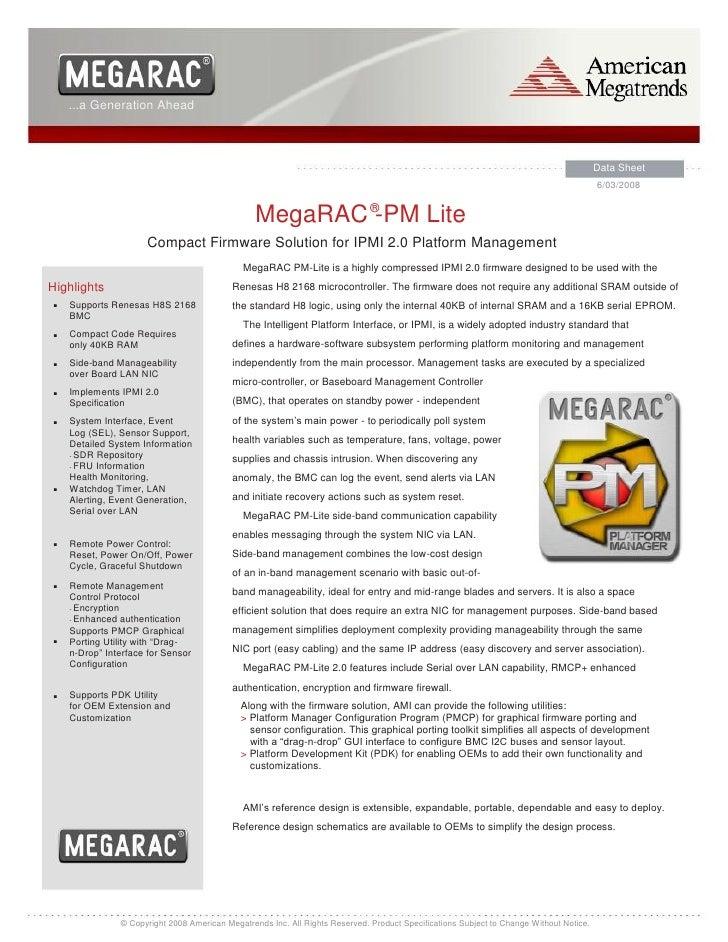 Mega rac compact firmware solution for ipmi 2.0 platform management