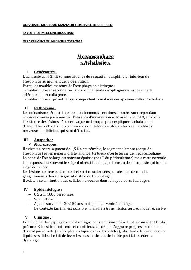 1 UNIVERSITE MOULOUD MAMMERI T.OSERVICE DE CHIR_GEN FACULTE DE MEDECINEDR.SAIDANI DEPARTEMENT DE MEDECINE 2013-2014 Megaœs...