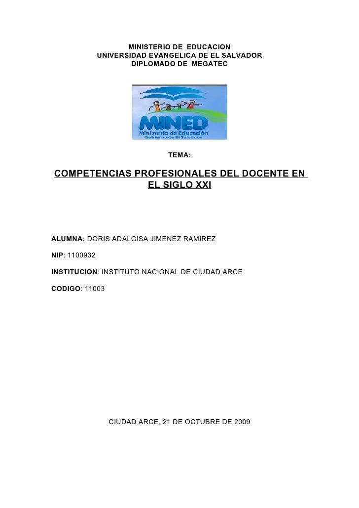 MINISTERIO DE EDUCACION                UNIVERSIDAD EVANGELICA DE EL SALVADOR                        DIPLOMADO DE MEGATEC  ...