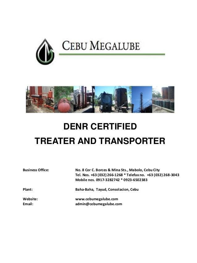 Cebu Megalube: Hazardous Waste Treater, Transporter & Bunker Fuel Supplier