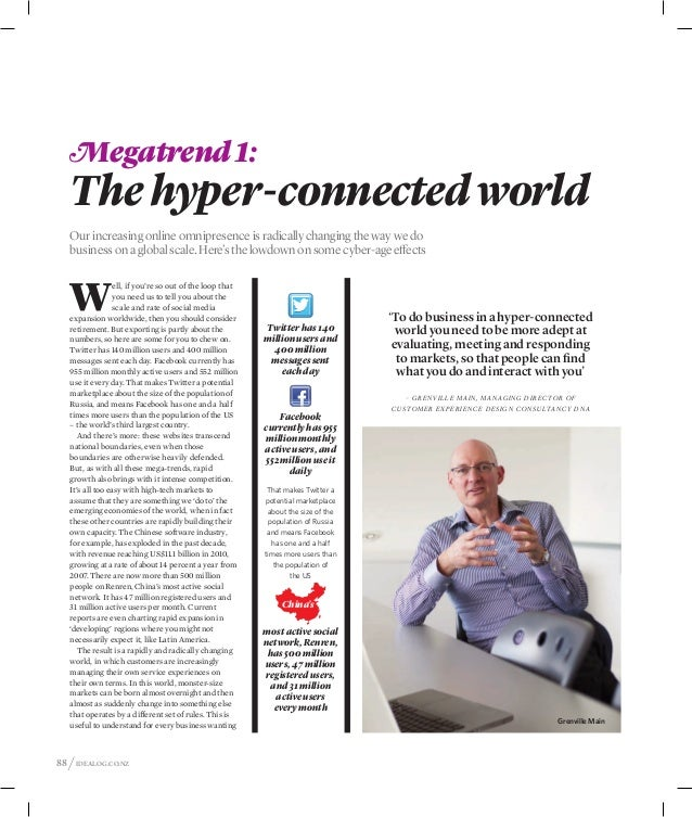 Megatrend 1:   The hyper-connected world   Our increasing online omnipresence is radically changing the way we do   busine...