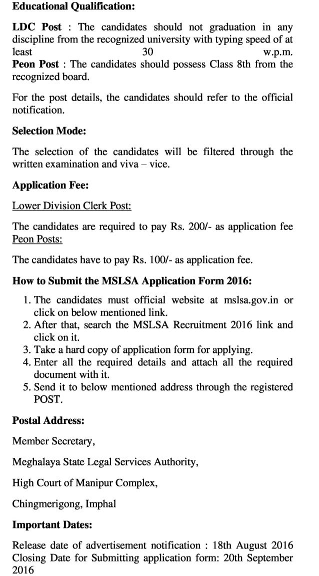Meghalaya lsa govt job recruitment 2016 latest ldc & peon vacancy exam result