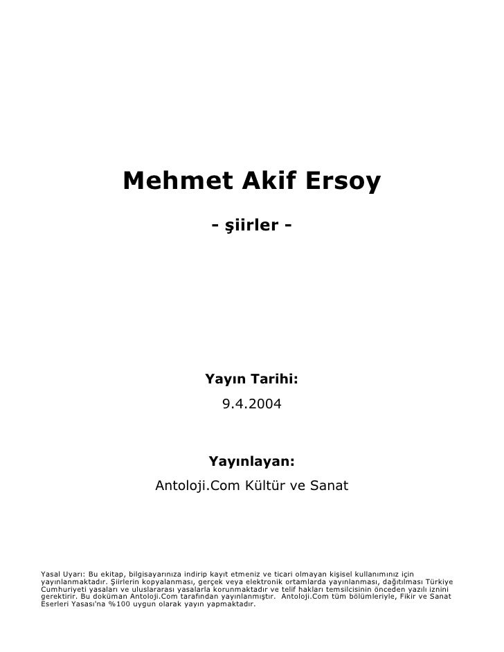 Mehmet Akif Ersoy                                               - şiirler -                                               ...