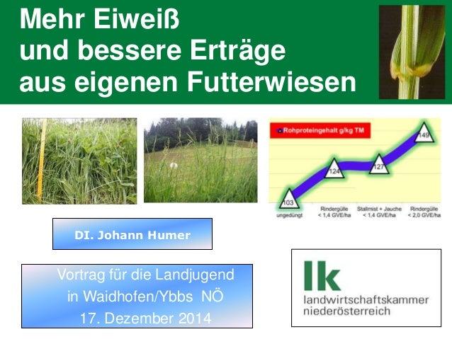 Dipl.-Ing. Johann Humer Mehr Eiweiß und bessere Erträge aus eigenen Futterwiesen  DI. Johann Humer  Vortrag für die Landju...
