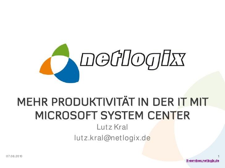Mehr Produktivität mit Microsoft System Center