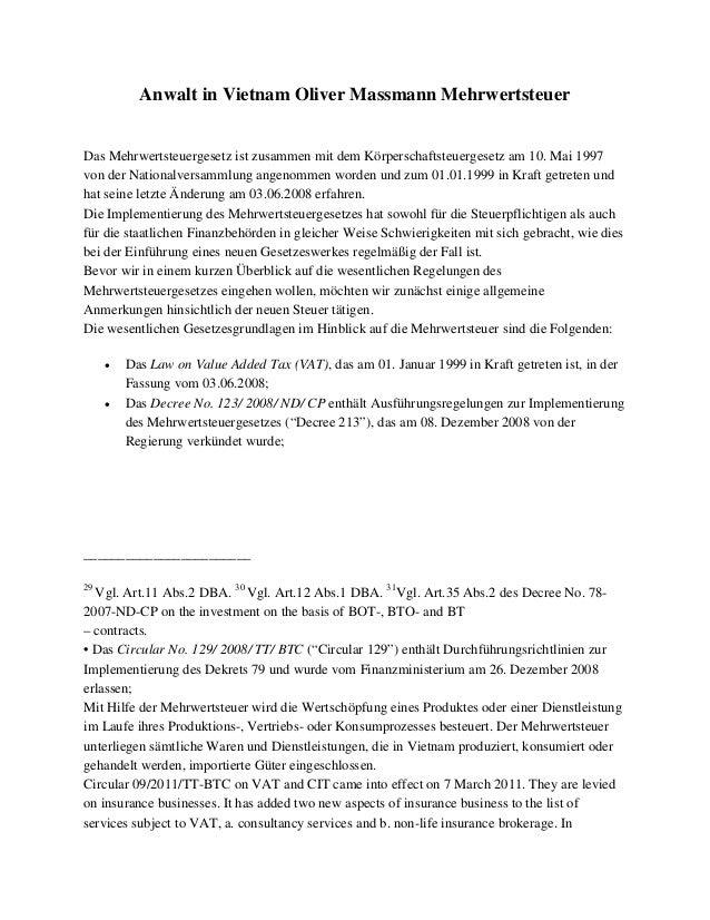 Anwalt in Vietnam Oliver Massmann Mehrwertsteuer Das Mehrwertsteuergesetz ist zusammen mit dem Körperschaftsteuergesetz am...