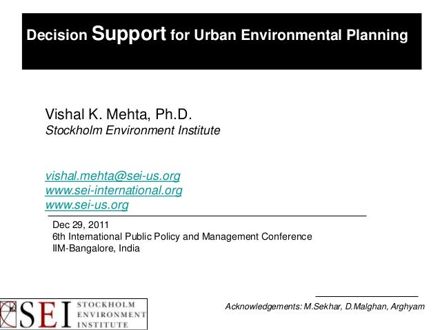Decision Support for Urban Environmental Planning