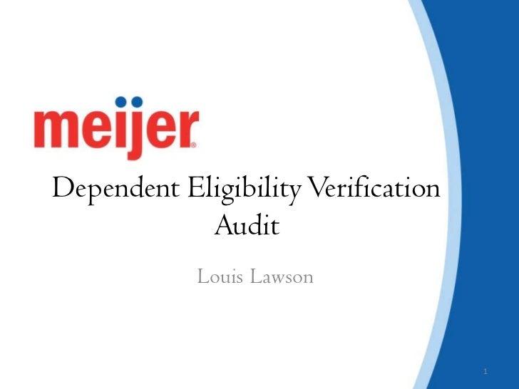 Dependent Eligibility Verification Audit<br />Louis Lawson<br />1<br />
