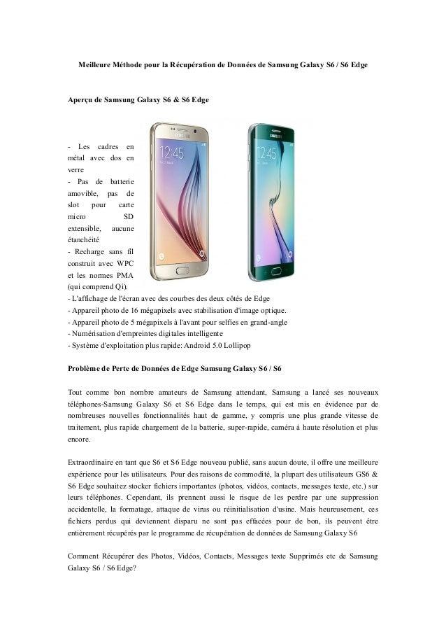 Meilleure Méthode pour la Récupération de Données de Samsung Galaxy S6 / S6 Edge Aperçu de Samsung Galaxy S6 & S6 Edge - L...