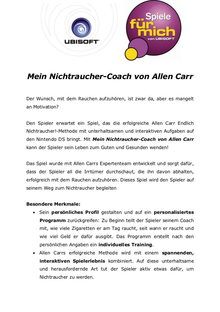 Mein Nichtraucher-Coach von Allen CarrDer Wunsch, mit dem Rauchen aufzuhören, ist zwar da, aber es mangeltan Motivation?De...