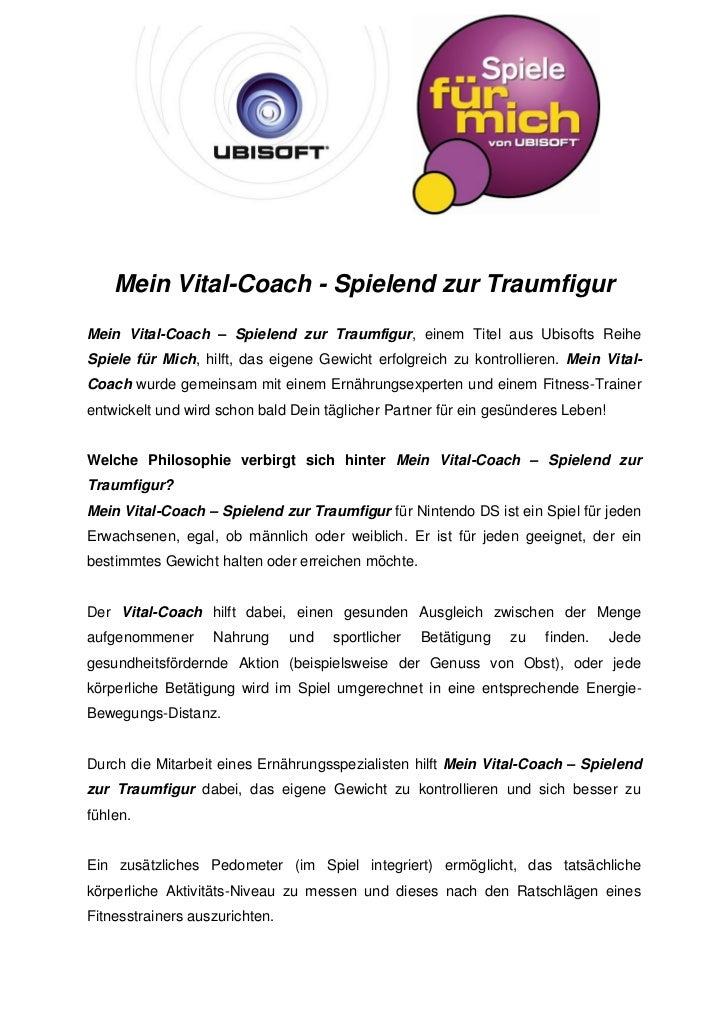 Mein Vital-Coach - Spielend zur TraumfigurMein Vital-Coach – Spielend zur Traumfigur, einem Titel aus Ubisofts ReiheSpiele...
