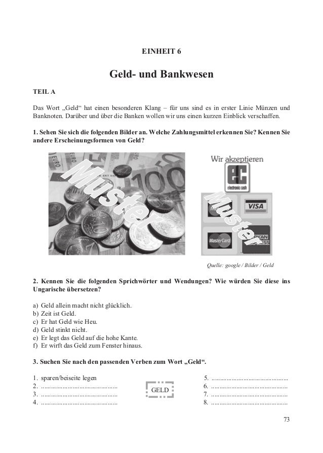 """EINHEIT 6                                             Geld- und BankwesenTEIL ADas Wort """"Geld"""" hat einen besonderen Klang ..."""