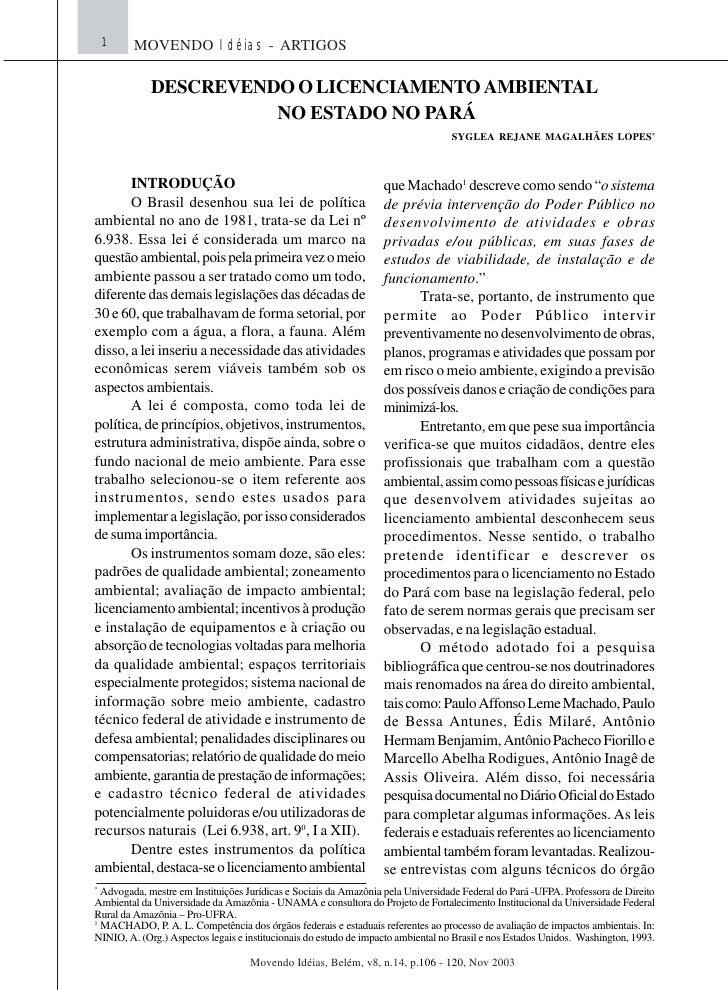 1    MOVENDO Idéias - ARTIGOS             DESCREVENDO O LICENCIAMENTO AMBIENTAL                       NO ESTADO NO PARÁ   ...