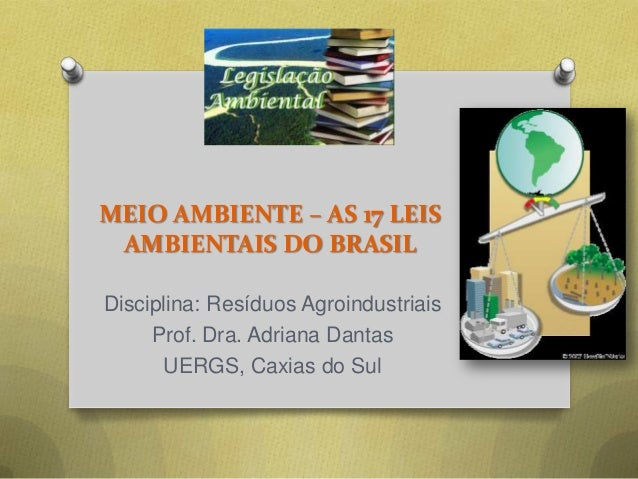 MEIO AMBIENTE – AS 17 LEIS AMBIENTAIS DO BRASIL Disciplina: Resíduos Agroindustriais Prof. Dra. Adriana Dantas UERGS, Caxi...