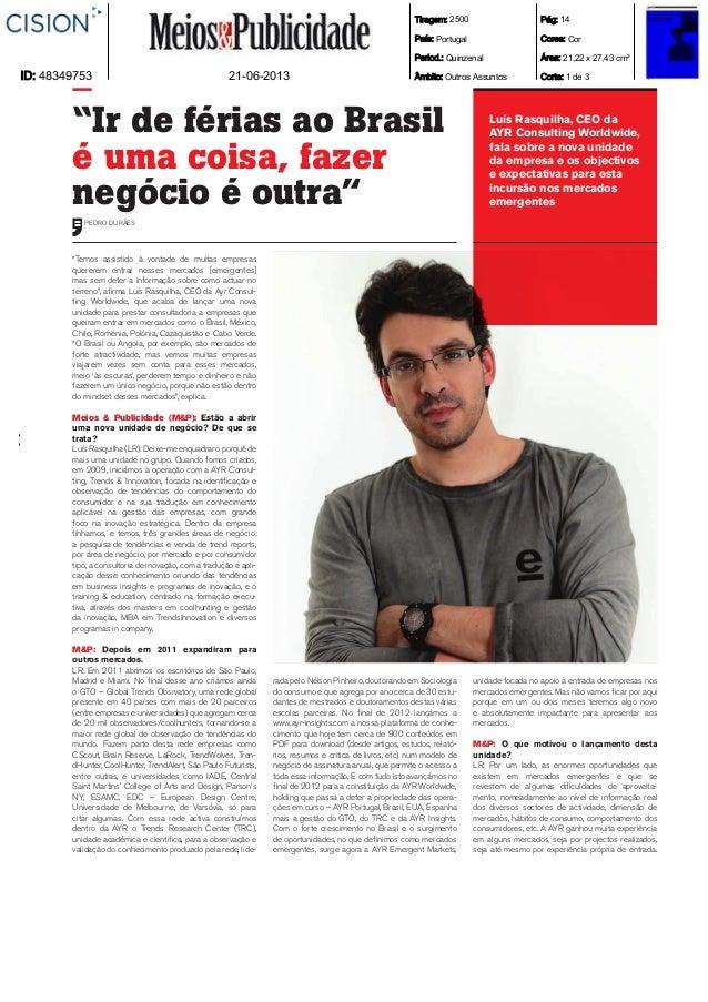 AYR Emergent Markets Entrevista Meios e Publicidade Jun13