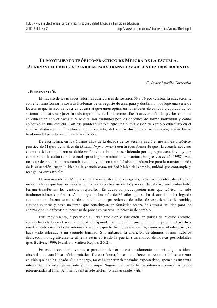 REICE - Revista Electrónica Iberoamericana sobre Calidad, Eficacia y Cambio en Educación2003, Vol. 1, No. 2               ...