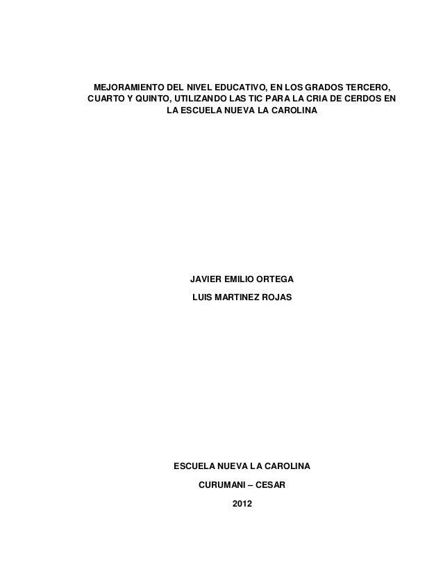 MEJORAMIENTO DEL NIVEL EDUCATIVO, EN LOS GRADOS TERCERO,CUARTO Y QUINTO, UTILIZANDO LAS TIC PARA LA CRIA DE CERDOS EN     ...