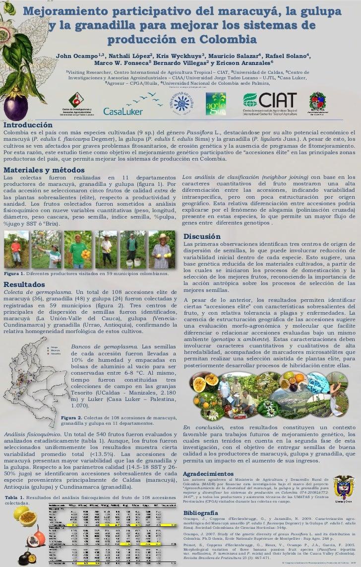 Mejoramiento participativo del maracuyá, la gulupa             y la granadilla para mejorar los sistemas de               ...
