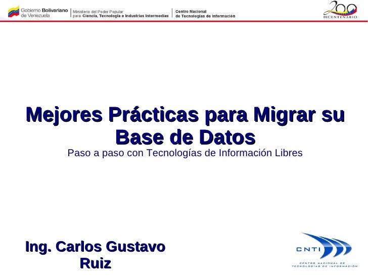 Mejores prácticas para migración de Bases de Datos