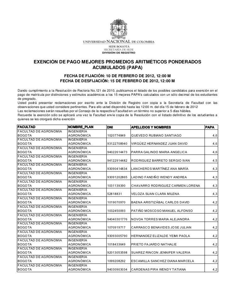 EXENCIÓN DE PAGO MEJORES PROMEDIOS ARITMÉTICOS PONDERADOS                              ACUMULADOS (PAPA)                  ...