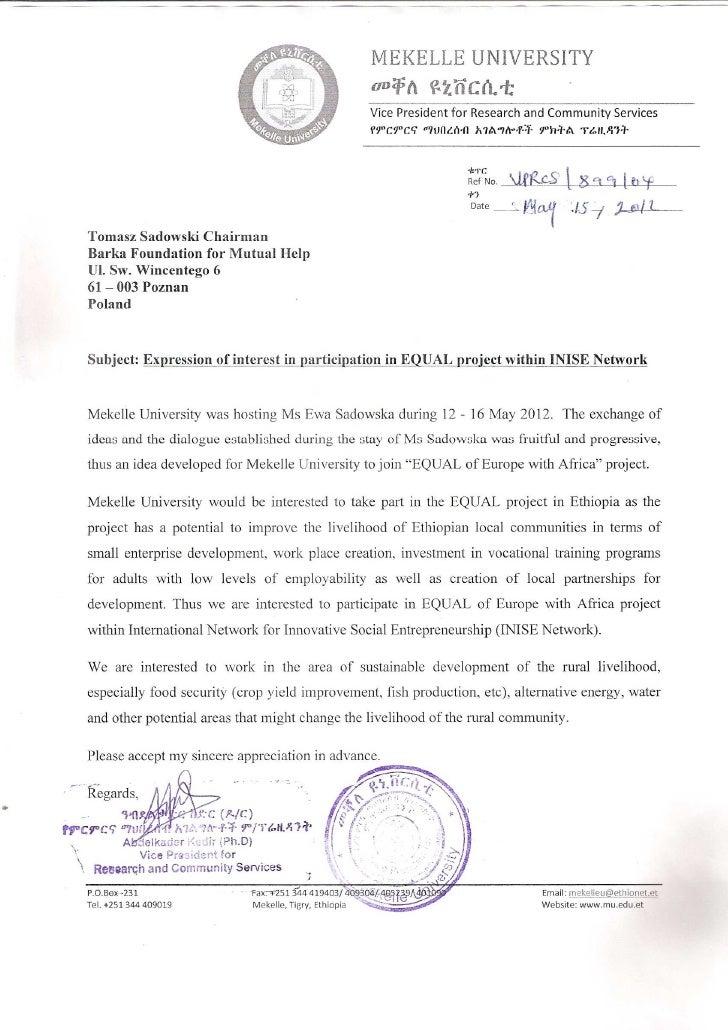 Mekelle university letter equal